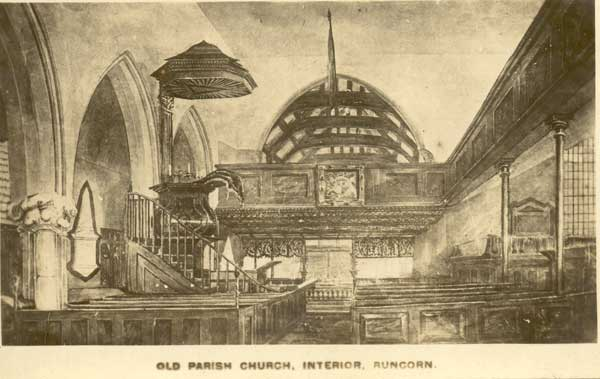 sketch of interior of the old Mediaeval Runcorn church